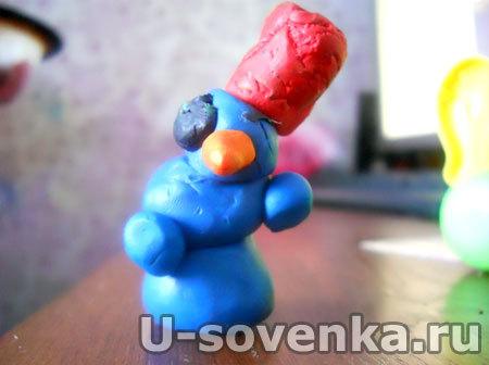 Поделка (Лепка) из пластилина - Снеговик