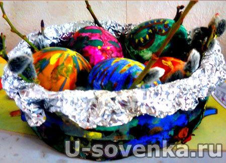 Поделка к Пасхе - крашенные яички в корзинке из папье маше